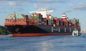 Freight Ship Transporting Cargo Containers